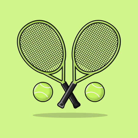 Tennis racket padel and ball sport equipment vector illustration cartoon style for any design