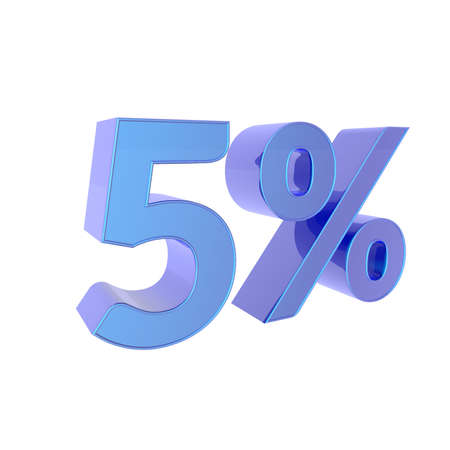 3d percentage  5% Percent off. Discount Template. 3D illustration on white background. 写真素材