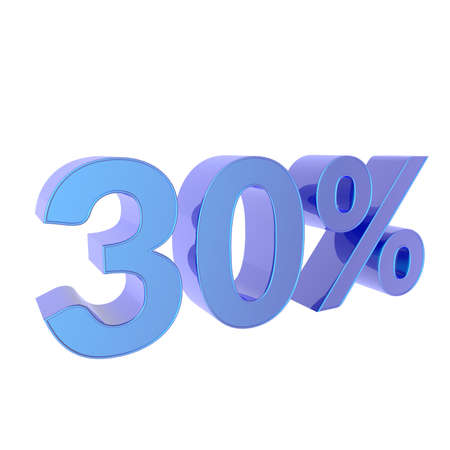 3d percentage  30% Percent off. Discount Template. 3D illustration on white background.