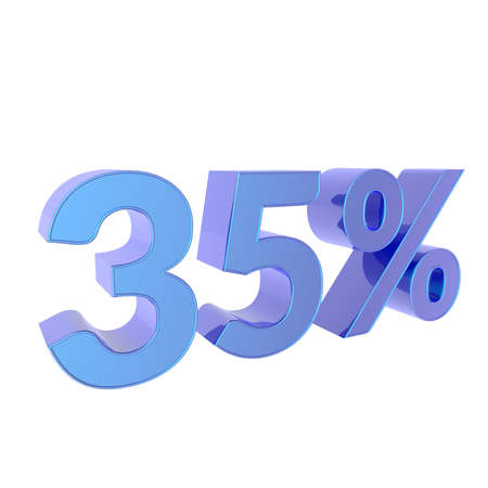 3d percentage  35% Percent off. Discount Template. 3D illustration on white background.