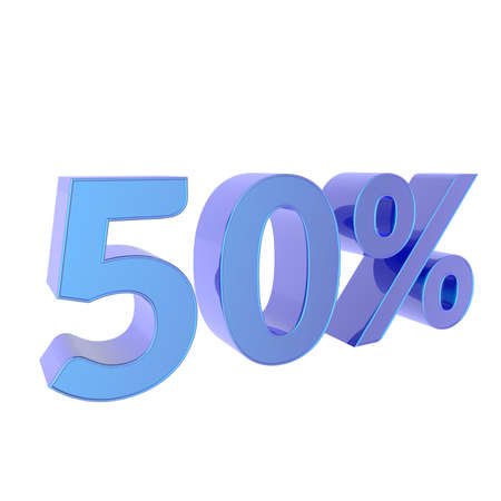 3d percentage  50% Percent off. Discount Template. 3D illustration on white background.