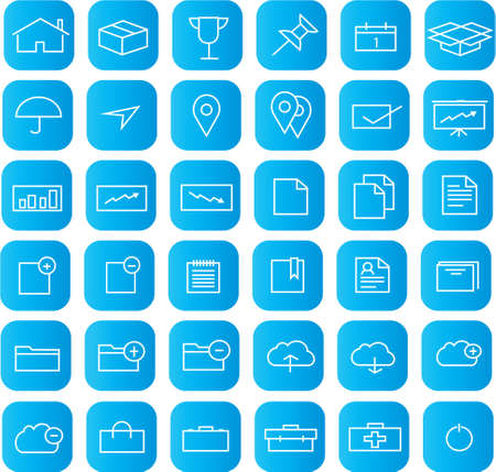 Vector set of 36 flat web icons   - 36 Universal Outline Icons For Web and Mobile