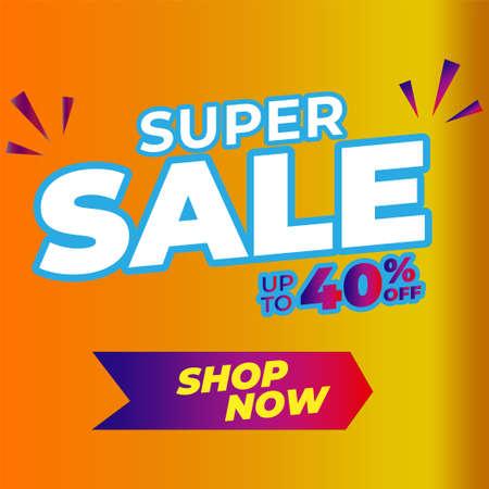 super Sale banner template design, Big sale special offer. Vector illustration.