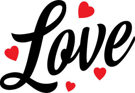 Beautiful typography background with hand drawn word Love. Handmade vector modern calligraphy