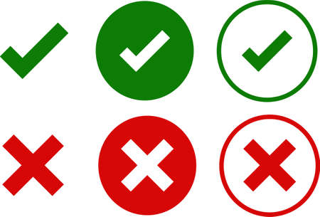 Green check and red cross symbols, round thin line vector signs. Vector illustration or set isolated on a white background