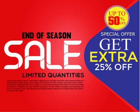 special offer banner, up to 50% off. Vector illustration.Sale banner template design.