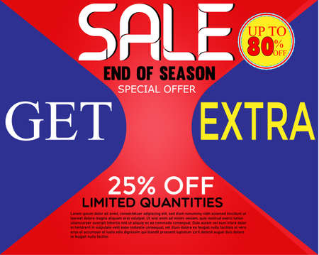 special offer banner, up to 80% off. Vector illustration.Sale banner template design.  イラスト・ベクター素材