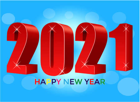 Happy New Year 2021. 3D numbers. Holiday greeting card design.