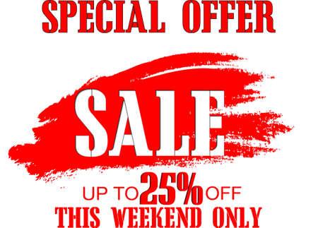 Weekend sale special offer banner, up to 25% off. Vector illustration.Sale banner template design.