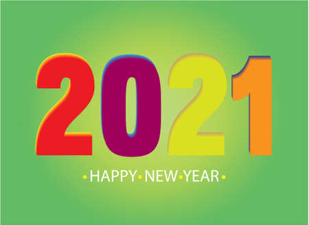 Happy new year 2021 template. Design for banner, greeting cards, brochure or print. Vector illustration.