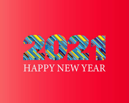 Happy New Year 2021 colorful facet logo text design. Cover of business diary for 2021 with wishes. Brochure design template, Xmas card, sale banner. Vector Christmas illustration on red background