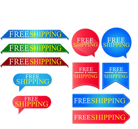 Set of Free Shipping Red Label Icon Design. Vector illustration Isolated on white background.  イラスト・ベクター素材