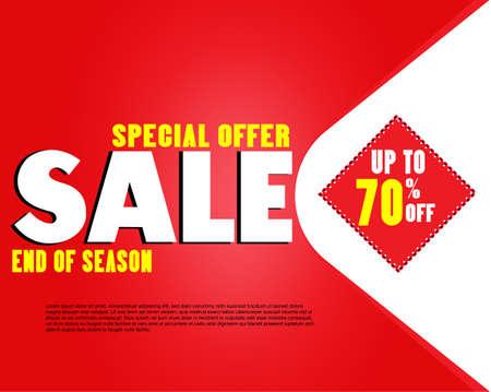 special offer banner, up to 70% off. Vector illustration.Sale banner template design.