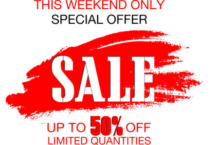 Weekend sale special offer banner, up to 50% off. Vector illustration.Sale banner template design.  イラスト・ベクター素材