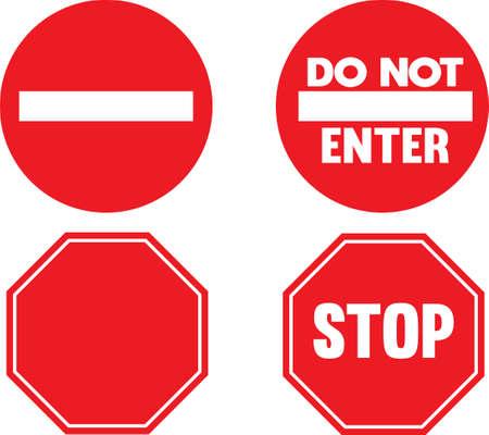 Do not enter sign.stop sign set, isolated on white background Illusztráció