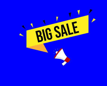 Big Sale. Megaphone banner. Special offer price sign. Advertising Discounts symbol. Marketing and advertising tag.  イラスト・ベクター素材