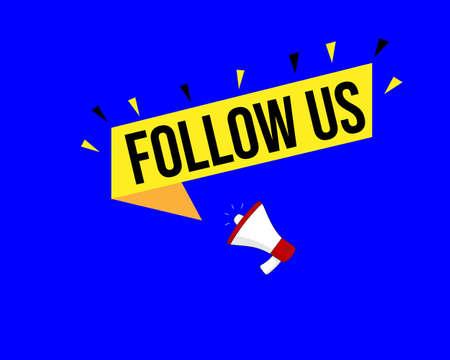follow us speech bubble on blue background.