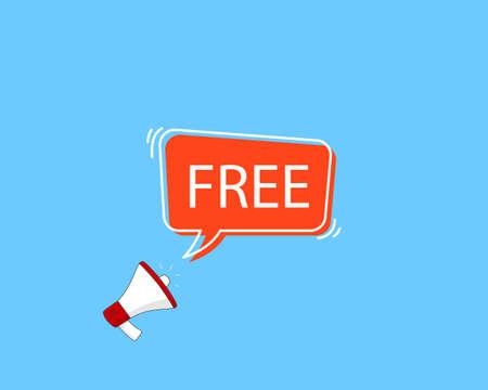 FREE speech bubble. Loudspeaker. Banner for business, marketing and advertising. Vector illustration