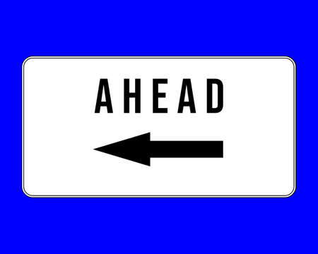 road sign ahead on the left - Supplementary Australian road sign - Ahead on the left