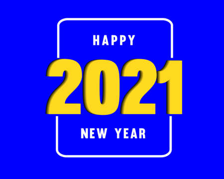 2021 Happy New Year vector background party celebration invitation illustration in blue background.