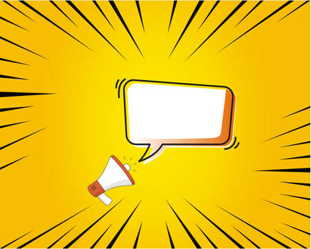 speech bubble with megaphone.   Trendy flat vector on yellow background. Vector Illustration.