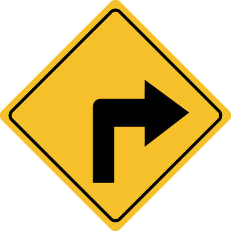 turn right traffic sign on white background. turn right symbol.