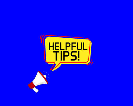 Helpful tips symbol. Megaphone banner. Education faq sign. Help assistance. Loudspeaker with speech bubble. Helpful tips sign. Marketing and advertising tag. Vector