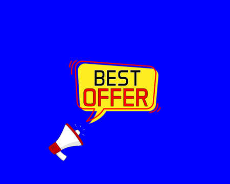 best offer. Megaphone banner. Special offer price sign. Advertising Discounts symbol. Marketing and advertising tag.