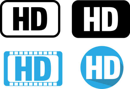 HD ICON VIDEO QUALITY ICON High Definition icon, TECHNOLOGY ICON VECTOR