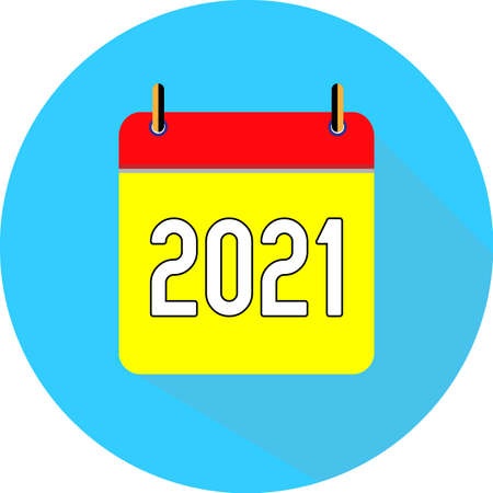 2021 new year. Vector flat daily calendar icon. Date and time, day, month. Holiday. Season.