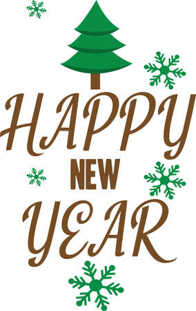 Happy New Year lettering on white background Fun New Years Celebration