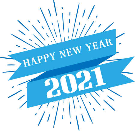 Happy New Year 2021 lettering on white background Fun New Years Celebration
