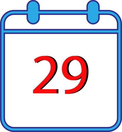 29. Vector flat daily calendar icon. Date and time, day, month. Holiday. Season.