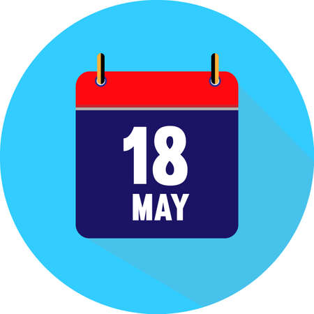 may 18. Vector flat daily calendar icon. Date and time, day, month. Holiday. Season.