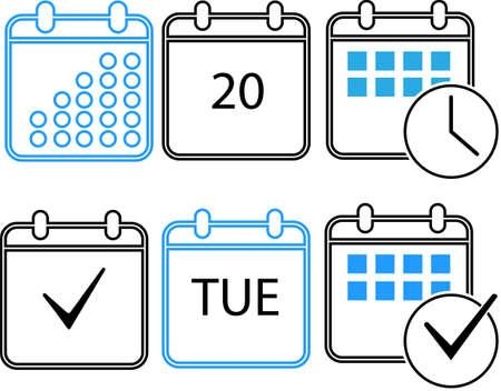 Flat design calendar icon set for graphic and web design.