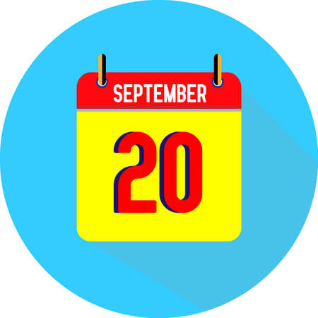 September 20. Vector flat daily calendar icon. Date and time, day, month. Holiday. Season.
