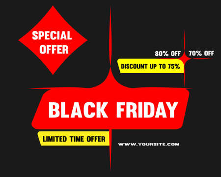 Black Friday sale promo design template. Black Friday banner, poster, badge, sticker, web advertising vector illustration.  イラスト・ベクター素材