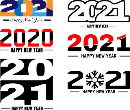 Big collection of 2021 Happy New Year signs. Set of 2021 Happy New Year symbols. Greeting card artwork, brochure template. Vector illustration isolated on white background.