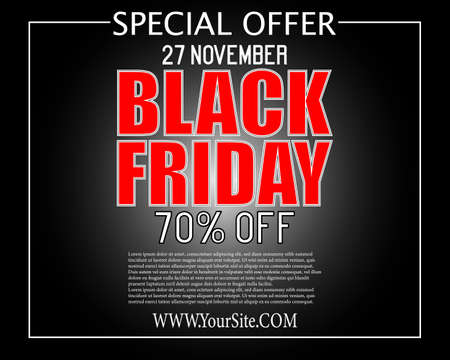 Black Friday super sale inscription design template. Up to 70 percent off. Promotional banner with black white bokeh. Eps 10 vector.