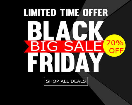 black friday special offer super sale poster shopping flyer holiday promotion hot price discount concept flat vector illustration
