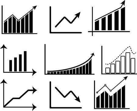 Set of Charts icon template.Trend and more symbol vector sign isolated on white background vector illustration for graphic and web design.
