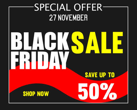Black Friday super sale inscription design template. Up to 50 percent off. Promotional banner with black white bokeh. Eps 10 vector.  イラスト・ベクター素材