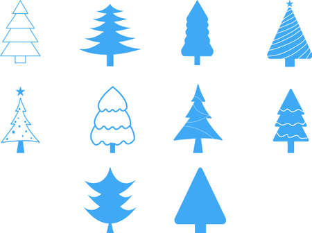 Set of Christmas trees isolated on white. Decorations for Christmas. Vector illustration.