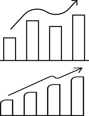 Growing bar graph icon in black on a white background. Vector illustration