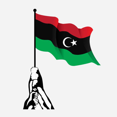 Libyan Flag vector illustration.