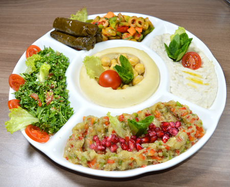 Arabic traditional Hummus , labneh and mtabbal closeup photo