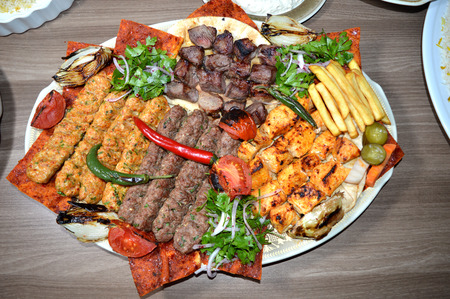 Close up of Persian Mix Kebab consisting