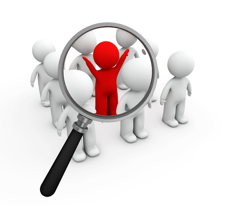 magnifying glass: 3d small people job search