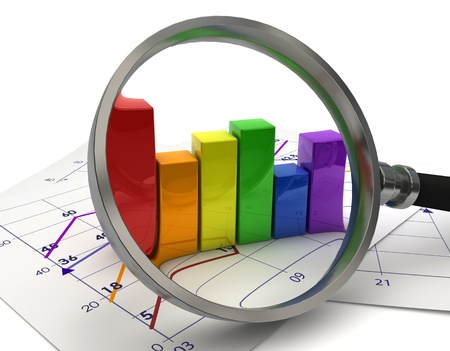 Business graphic chart with magnifying glass
