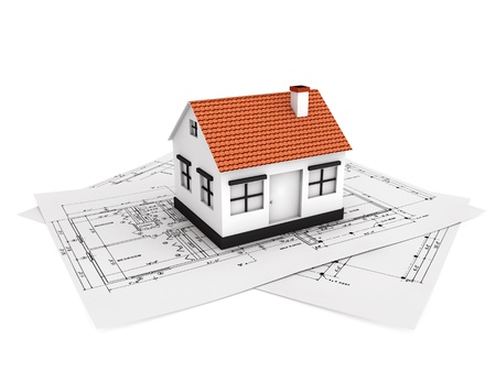 realestate: Small house model with plan Stock Photo